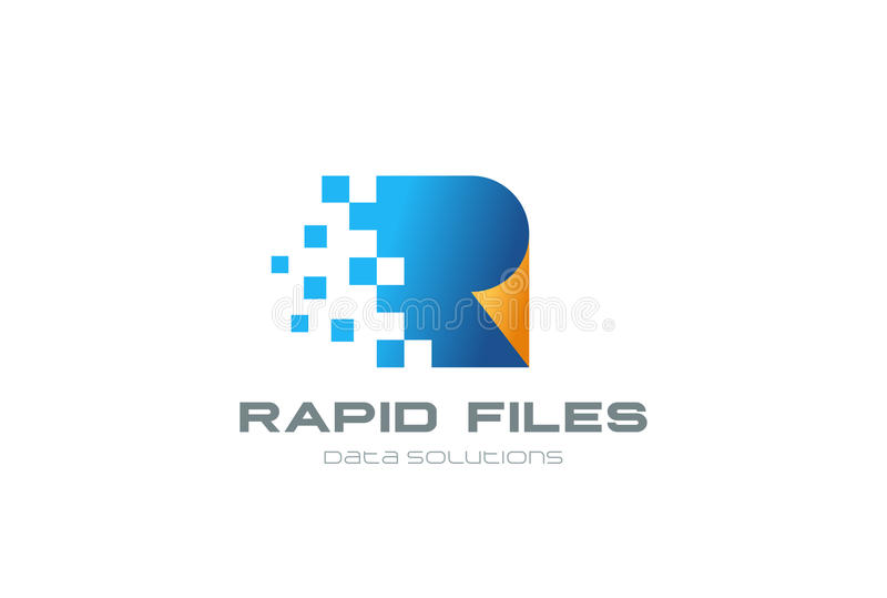 Logotype dell'archivio di vettore di progettazione di logo dei documenti di Digital
