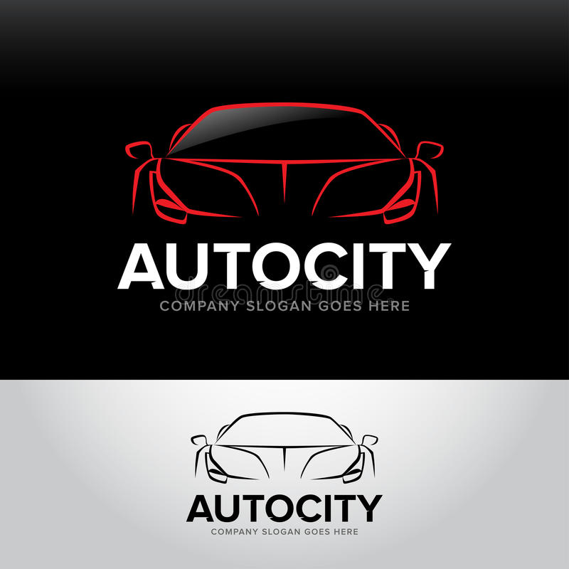 Logotype dell'automobile del ` di Autocity del ` - servizio dell'automobile e riparazione, insieme Logo dell'automobile Logo auto illustrazione vettoriale