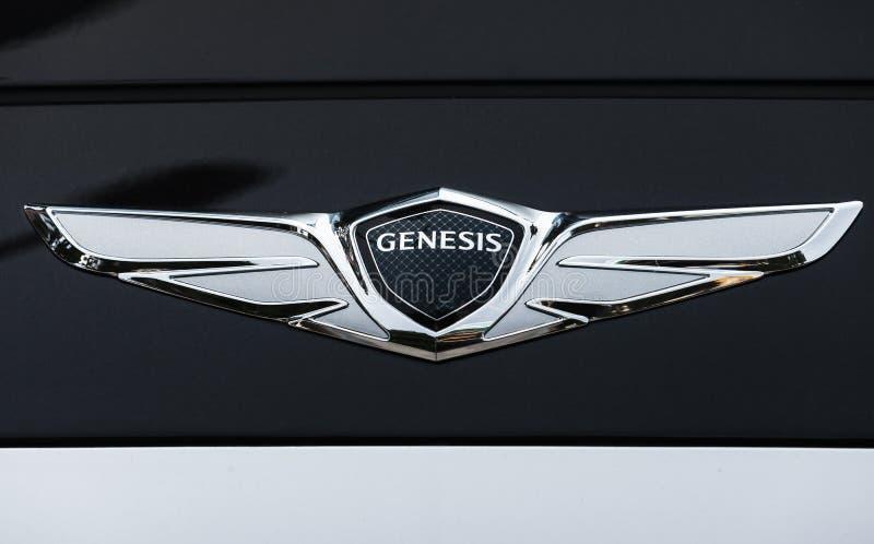 Logotype dell'automobile di genesi di Hyundai fotografia stock libera da diritti