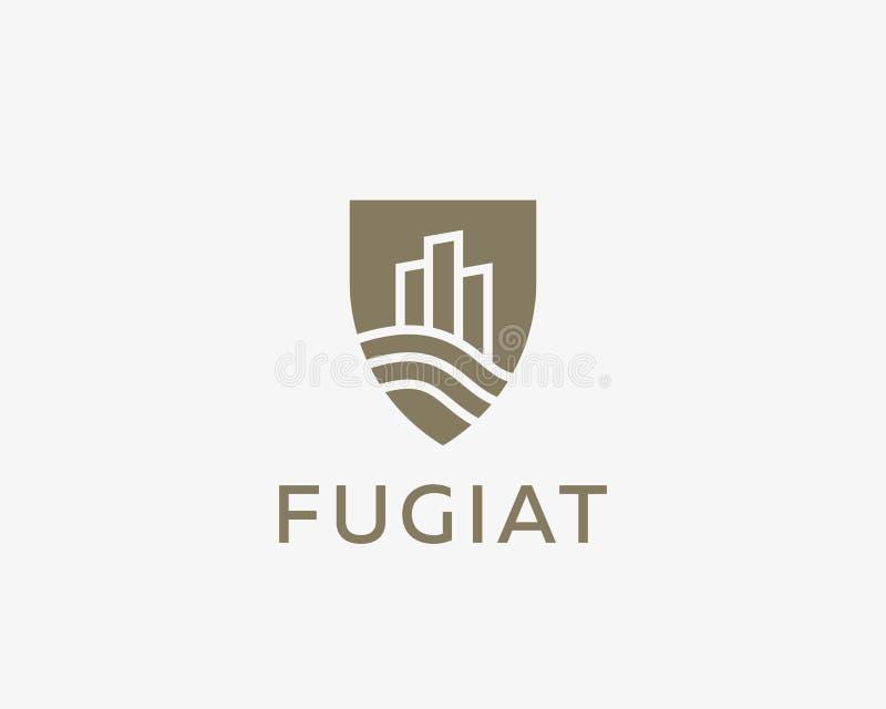 Logotype della casa della città dello schermo Logo premio del bene immobile illustrazione vettoriale