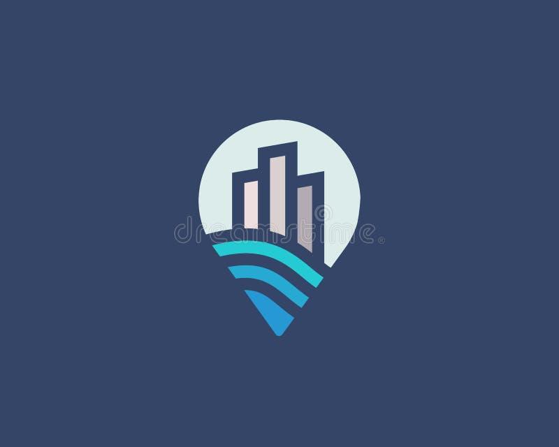 Logotype della casa della città di Pin Logo premio del bene immobile illustrazione di stock
