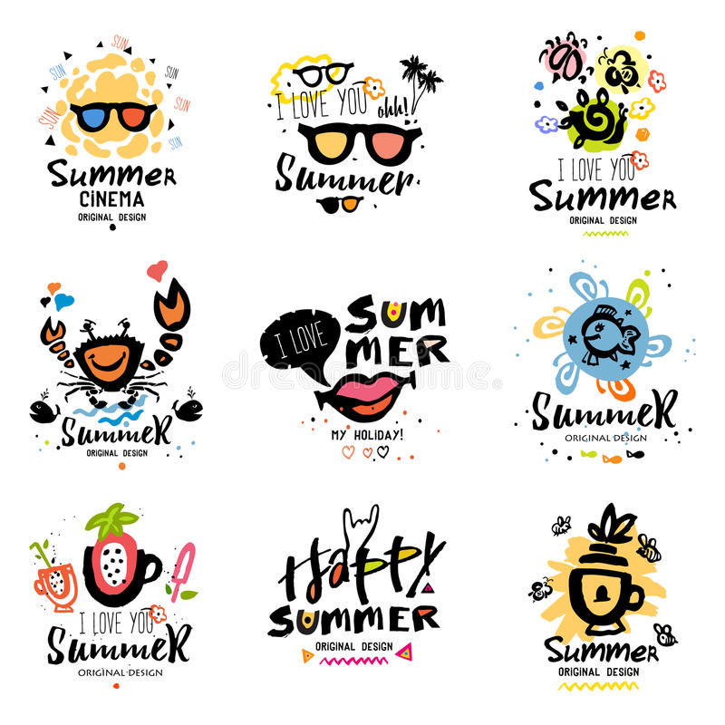 Logotype di estate Logo di vacanze estive fotografie stock libere da diritti