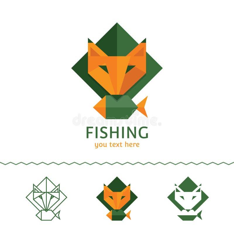 Logotype di pesca Fox che tiene un pesce Stile piano, illustr di vettore illustrazione di stock