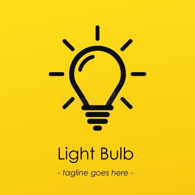 Logotype di simbolo della lampadina con l'idea creativa, illustrazione vettoriale