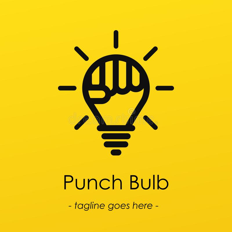 Logotype di simbolo della lampadina con l'idea creativa, simbolo della perforazione in lampadina royalty illustrazione gratis