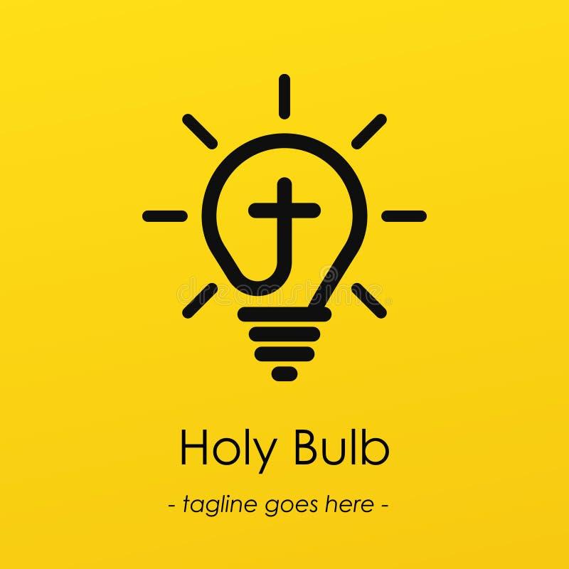 Logotype di simbolo della lampadina con l'idea creativa, simbolo trasversale in lampadina illustrazione vettoriale