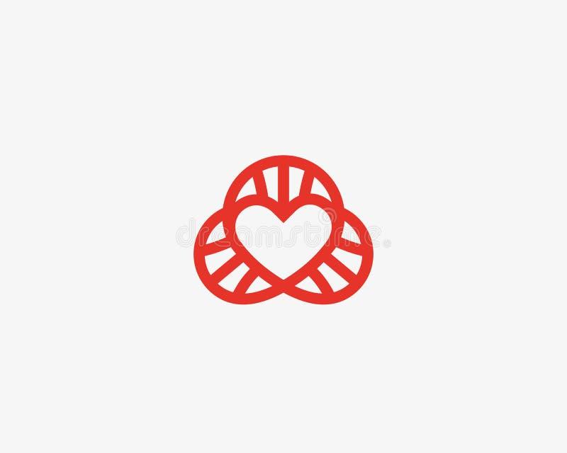 Logotype di vettore del DNA del cuore Simbolo allineato di scienza di amore Progettazione a spirale sociale di logo del laborator illustrazione vettoriale