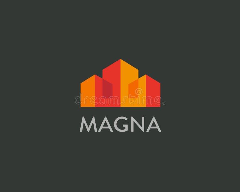 Logotype di vettore della città della Camera Logo premio del bene immobile Simbolo domestico dell'icona di colore illustrazione di stock