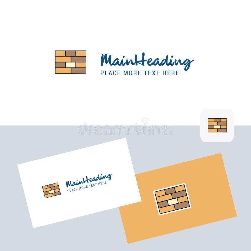 Logotype di vettore della parete di mattoni con il modello del biglietto da visita Identità corporativa elegante - L'archivio di  illustrazione vettoriale