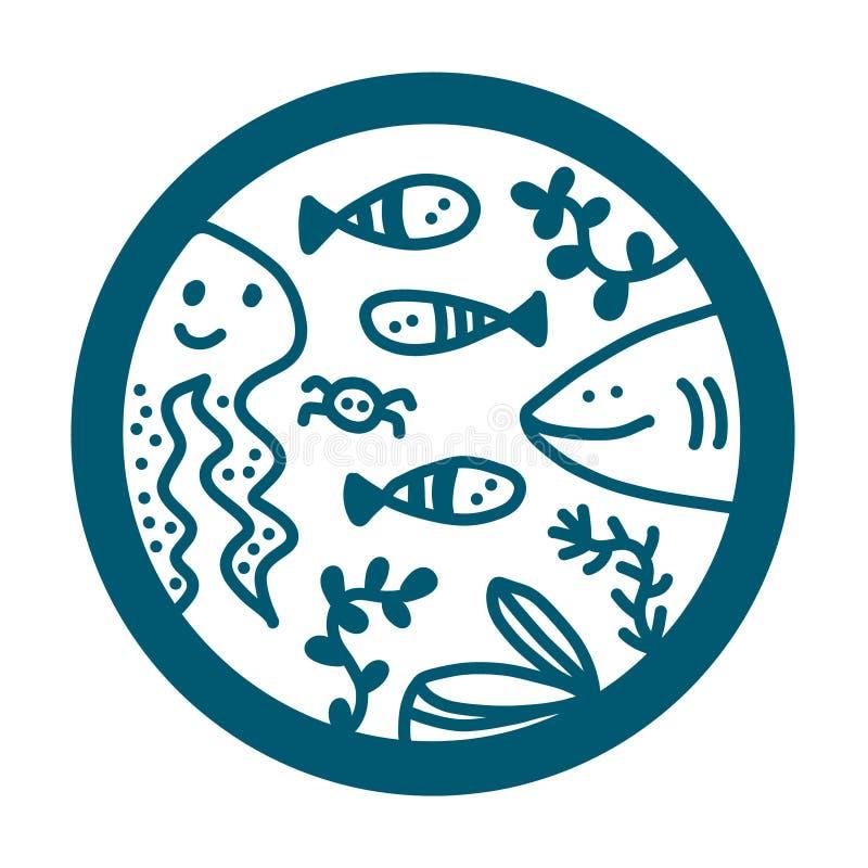 Logotype disegnato a mano di logo dell'illustrazione dei frutti di mare con l'alga dei pesci del polipo dello squalo illustrazione di stock