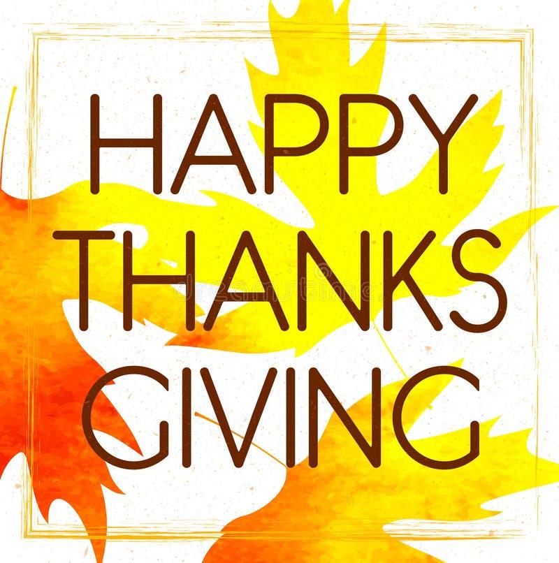 Logotype, distintivo ed icona felici di giorno di ringraziamento di stile di progettazione dell'acquerello Modello felice di logo illustrazione di stock