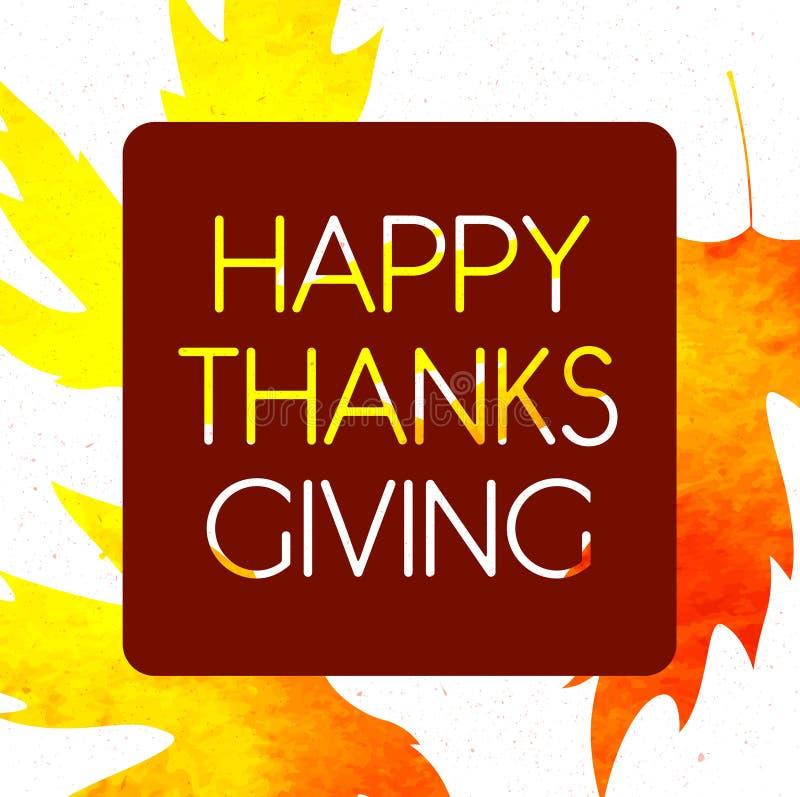 Logotype, distintivo ed icona felici di giorno di ringraziamento di stile di progettazione dell'acquerello Modello felice di logo royalty illustrazione gratis