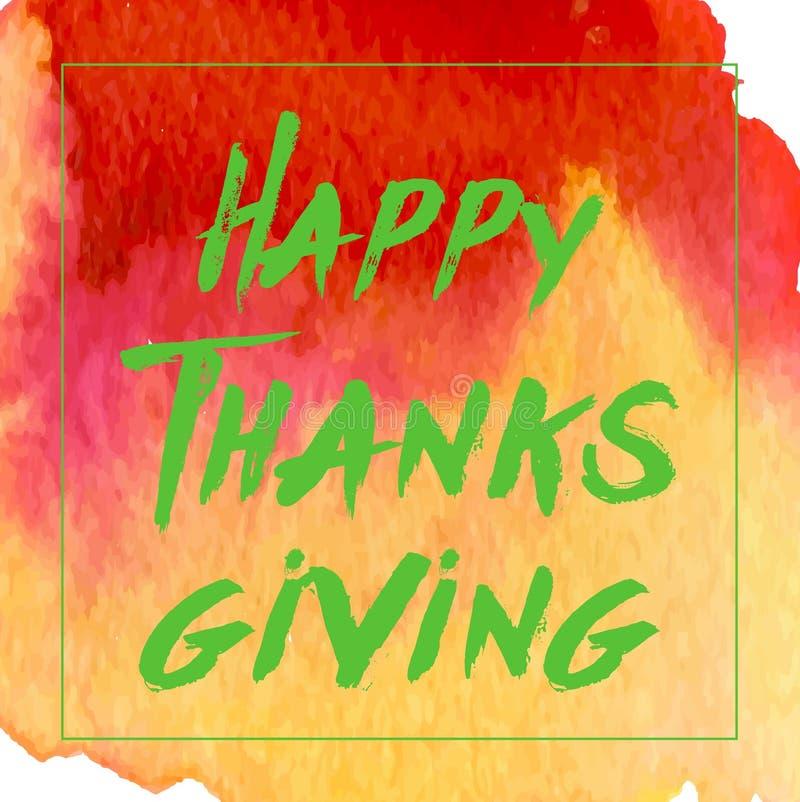 Logotype, distintivo ed icona felici di giorno di ringraziamento di stile di progettazione dell'acquerello Modello felice di logo illustrazione vettoriale