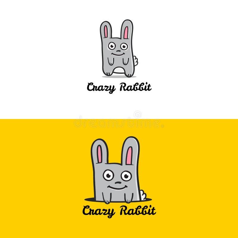 Logotype divertente della mascotte del coniglio del fumetto di vettore royalty illustrazione gratis