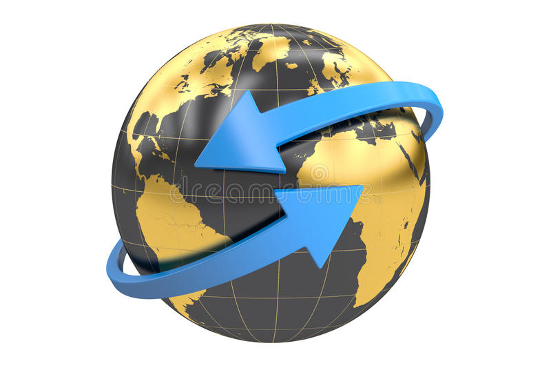 Logotype do negócio, globo com setas rendição 3d ilustração do vetor
