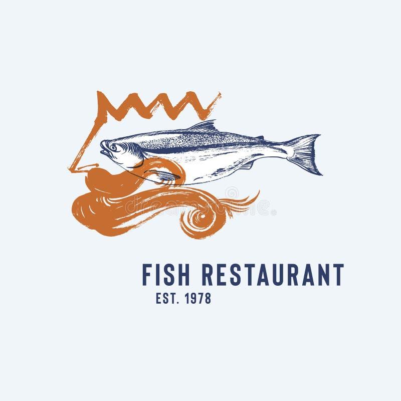 Logotype do restaurante do marisco com Poseidon e peixes ilustração stock