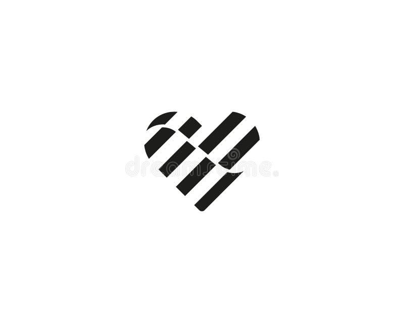 Logotype do vetor do cora??o S?mbolo das listras do dia de Valentim Logotipo m?dico do ?cone da sa?de da onda do sum?rio ilustração do vetor