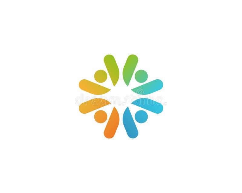 Logotype do vetor da empresa dos povos da comunidade Logotipo social da puericultura dos trabalhos de equipe ilustração royalty free