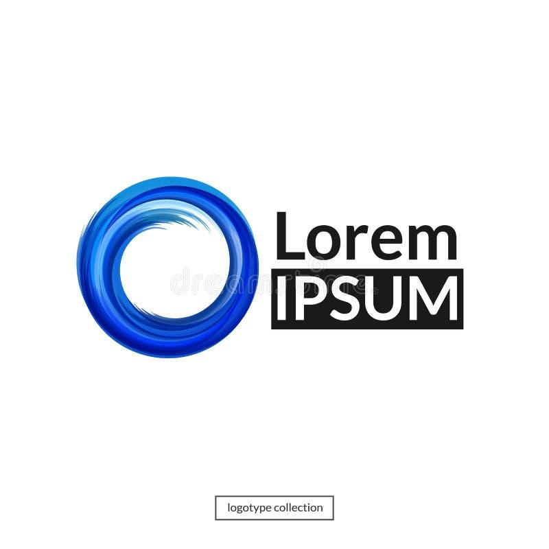 Logotype dos meios Forma redonda azul Vetor ilustração stock