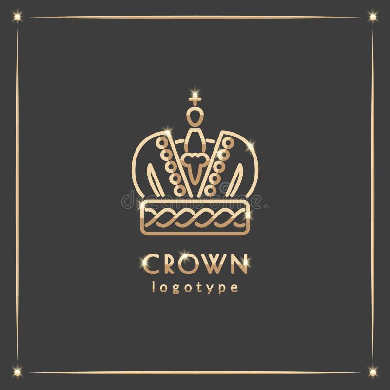 Logotype dourado da coroa ilustração do vetor