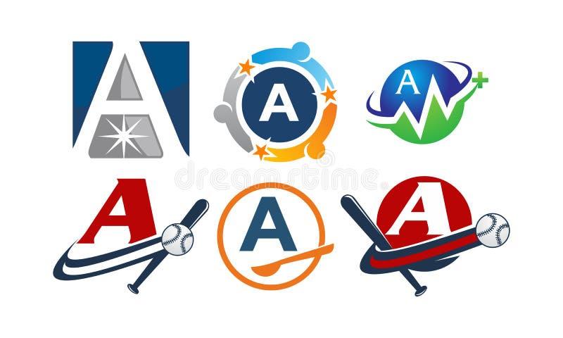 Logotype een Moderne Malplaatjereeks stock illustratie