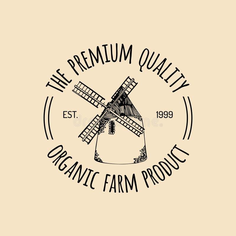 Logotype frais de rétro ferme de vecteur Label de la meilleure qualité organique de produits de qualité Signe de nourriture d'Eco illustration libre de droits