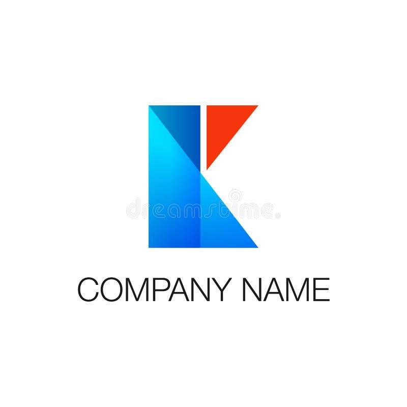 logotype Geometrische van de vormenrechthoek en driehoek blauwe en rode kleuren als brief K Vectordieillustratie op wit wordt geï vector illustratie