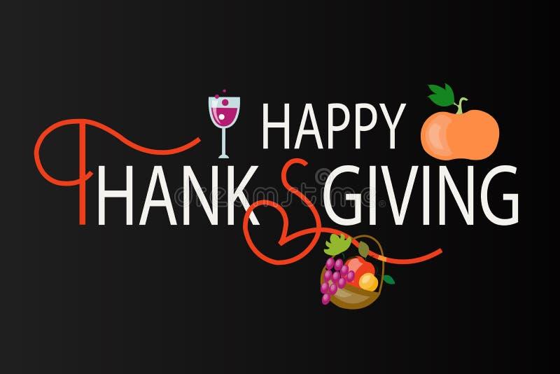 Logotype heureux de jour de thanksgiving, insigne illustration stock