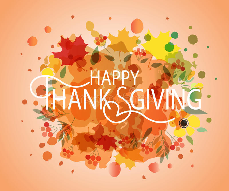 Logotype, insigne et icône heureux d'aquarelle de jour de thanksgiving illustration stock