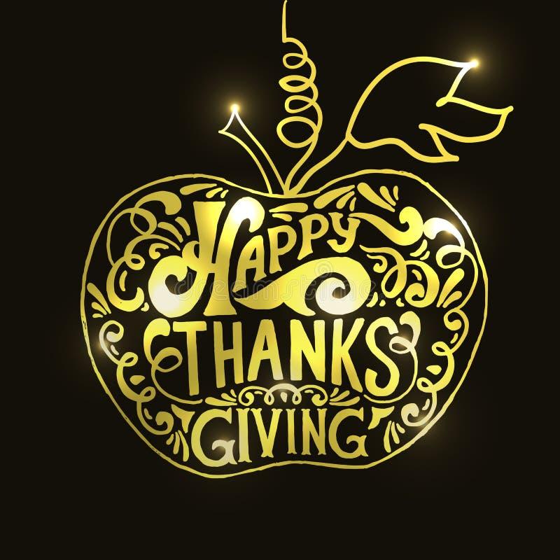 Logotype, insigne et icône heureux d'or de jour de thanksgiving illustration stock