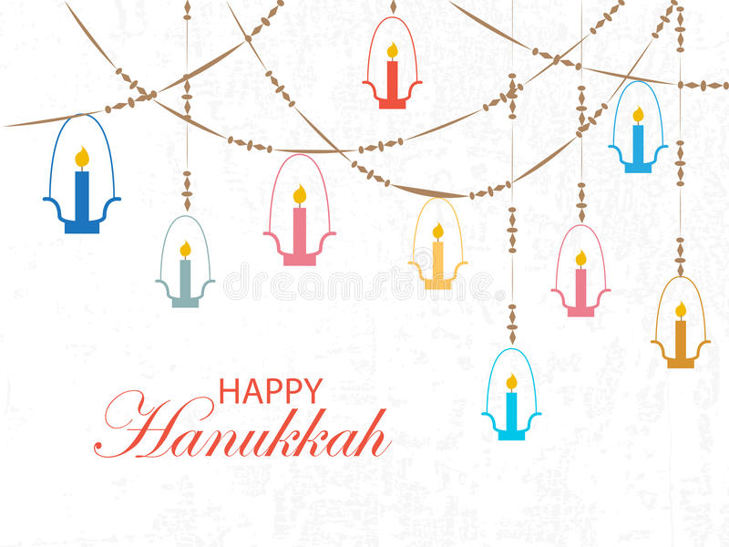 Logotype, insigne et icône heureux de Hanoucca de style de conception de Falt illustration stock