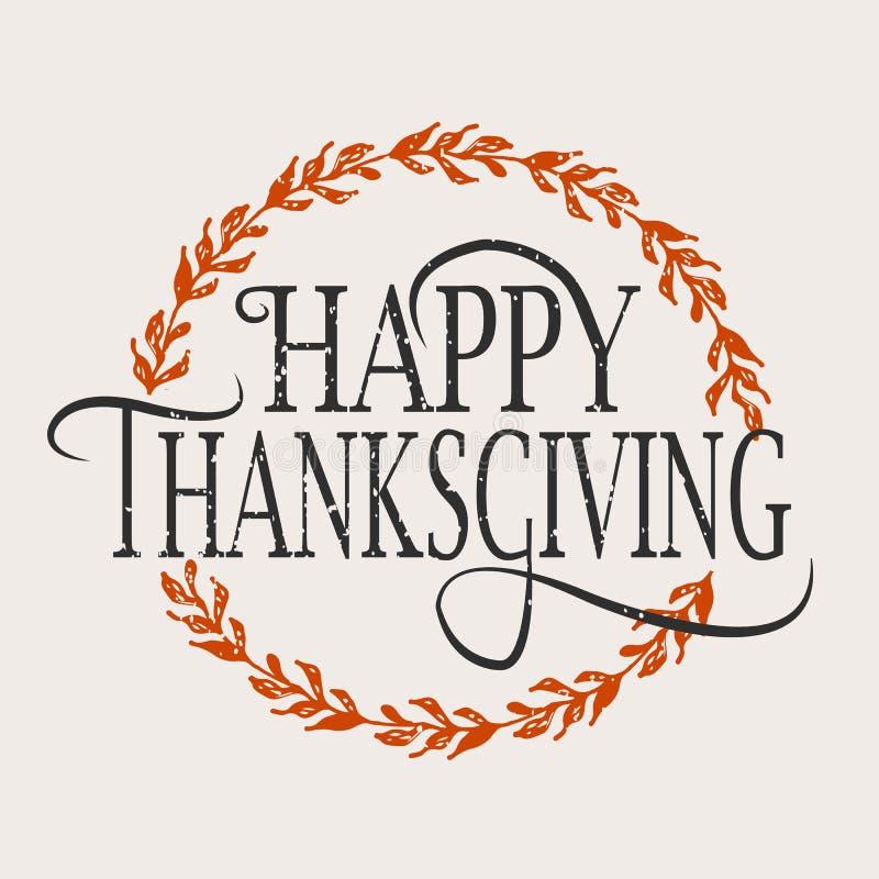 Logotype, insigne et icône heureux de jour de thanksgiving illustration libre de droits