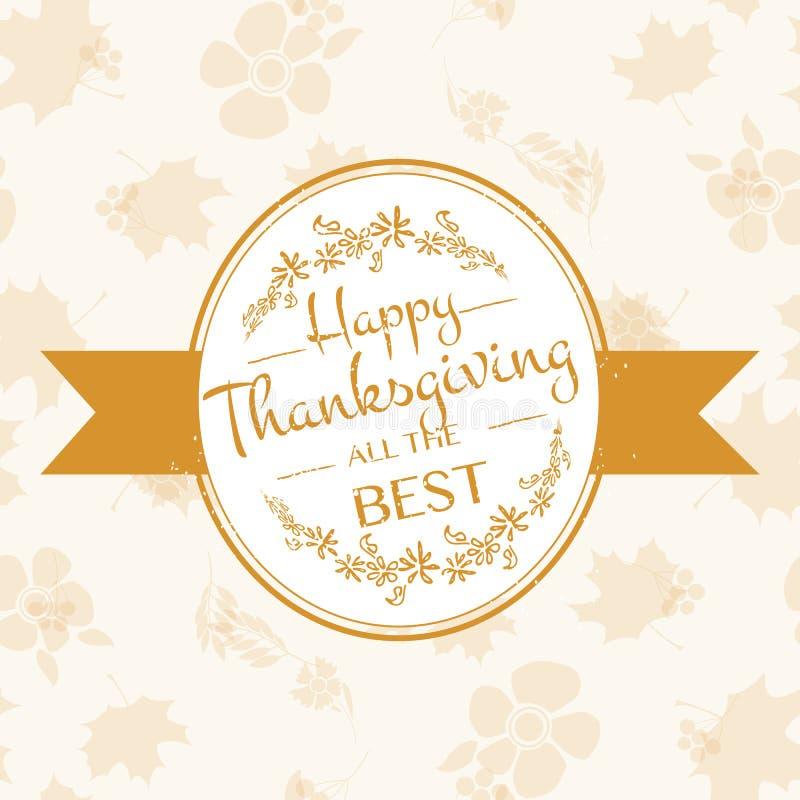 Logotype, insigne et icône heureux de jour de thanksgiving illustration de vecteur