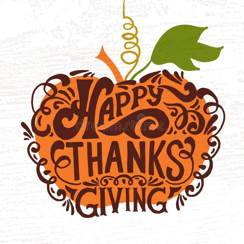 Logotype, insigne et icône heureux de jour de thanksgiving illustration stock