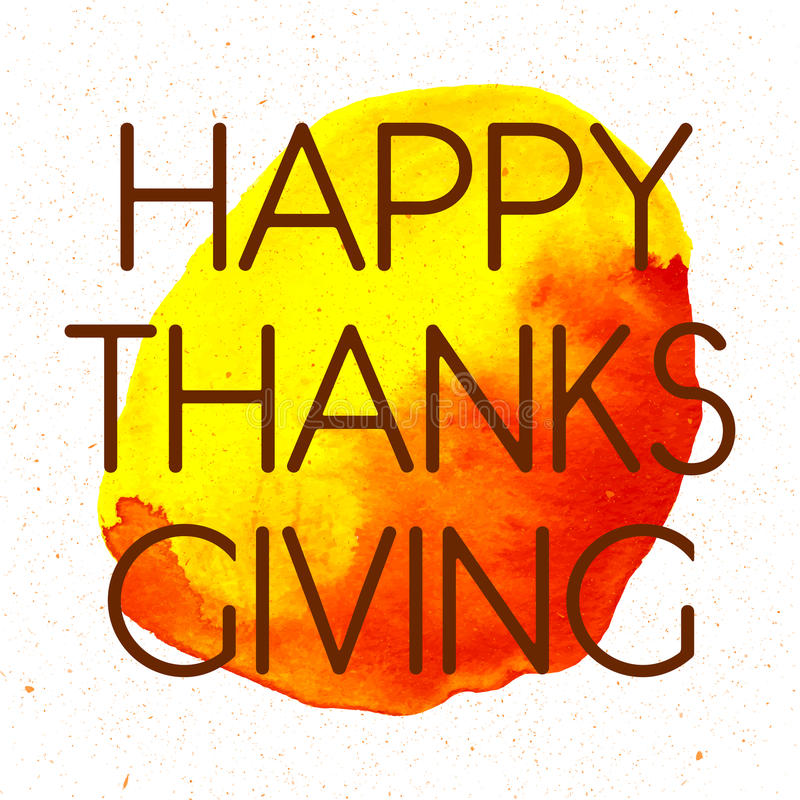 Logotype, insigne et icône heureux de jour de thanksgiving de style de conception d'aquarelle photographie stock libre de droits