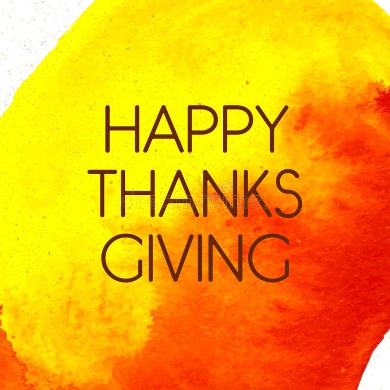 Logotype, insigne et icône heureux de jour de thanksgiving de style de conception d'aquarelle image stock