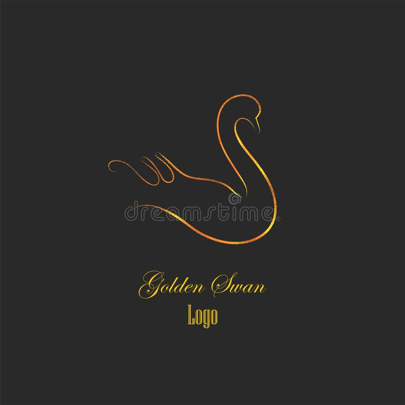 Logotype isolato fatto come profili regolari e delicati del cigno Siluetta del cigno con struttura dell'oro Ideale come logo di m illustrazione di stock