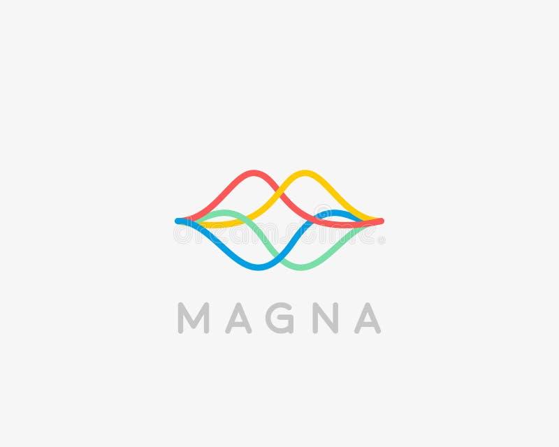 Logotype linear abstrato dos bordos da cor Logotipo sadio do vetor do discurso da onda ilustração stock