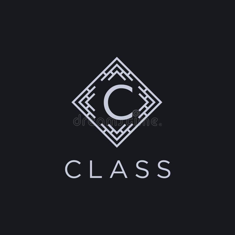 Logotype linear superior do alfabeto do monograma do protetor Logotipo elegante do vetor do ícone do selo da folha da crista Símb ilustração do vetor