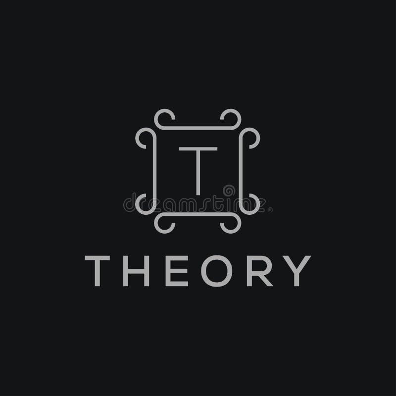 Logotype linear superior do alfabeto do monograma do protetor Logotipo elegante do vetor do ícone do selo da folha da crista Símb ilustração royalty free