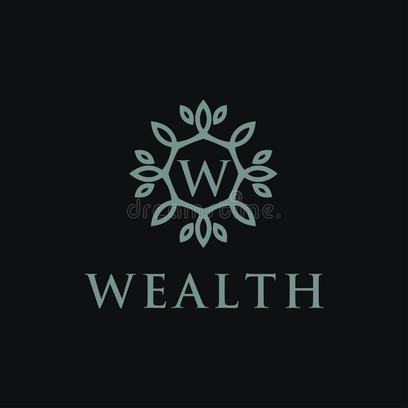 Logotype linear superior do alfabeto do monograma do protetor Logotipo elegante do vetor do ícone do selo da folha da crista Símb ilustração stock