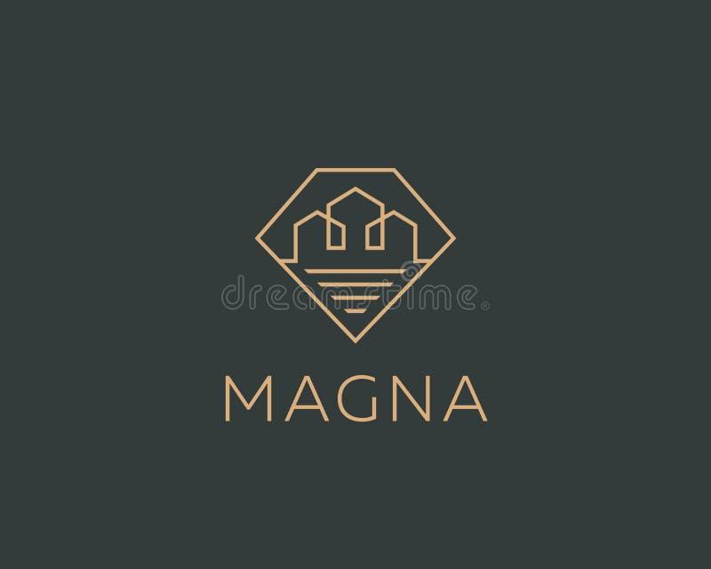 Logotype lineare della casa della città del diamante Logo premio del bene immobile Simbolo domestico dell'icona della gemma illustrazione vettoriale