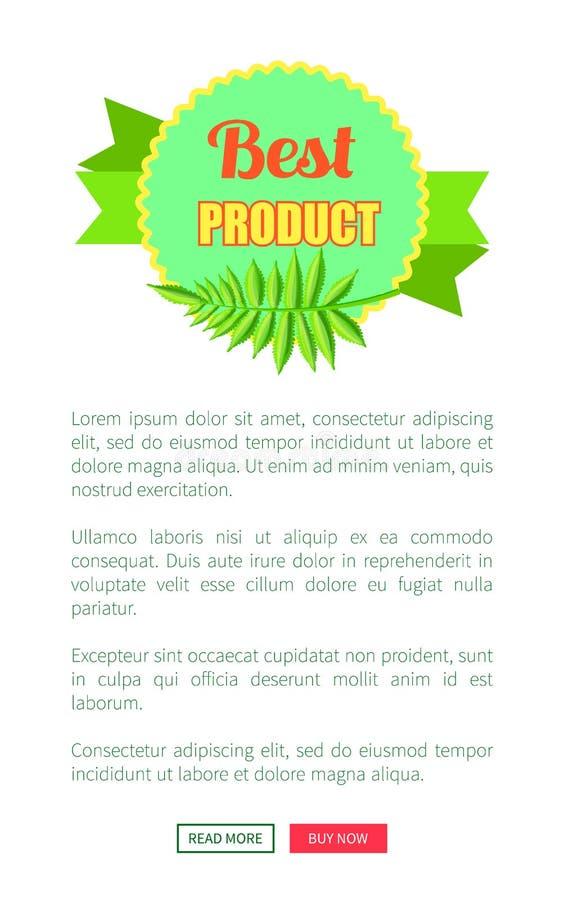 Logotype luminoso di promo del migliore prodotto con foglia di palma illustrazione di stock