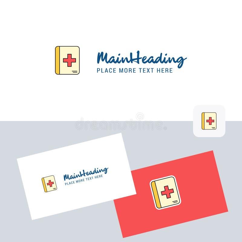 Logotype médico do vetor do livro com molde do cartão Identidade corporativa elegante - O arquivo do vetor imagem de stock royalty free