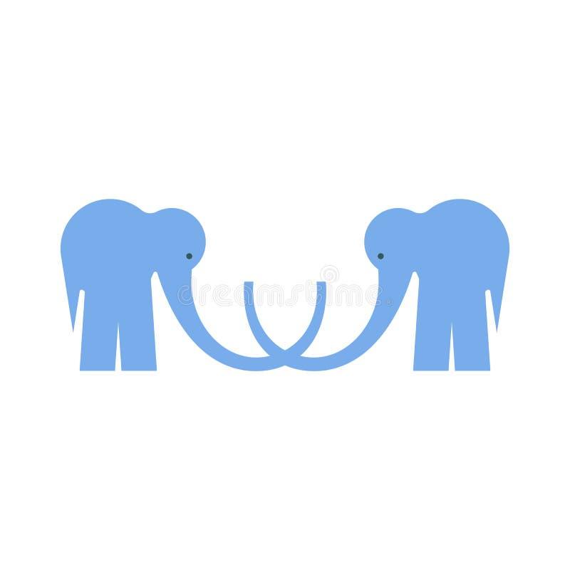 Logotype met Twee Blauwe Vlakke Olifanten op het wit stock illustratie