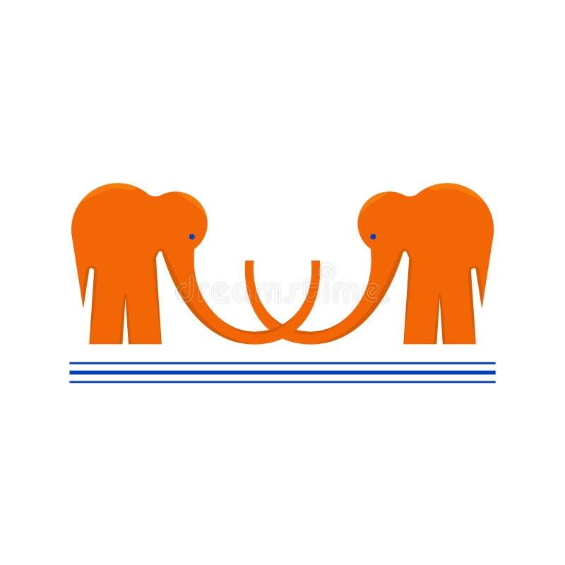 Logotype met Twee Oranje Olifanten met onderstreept royalty-vrije illustratie