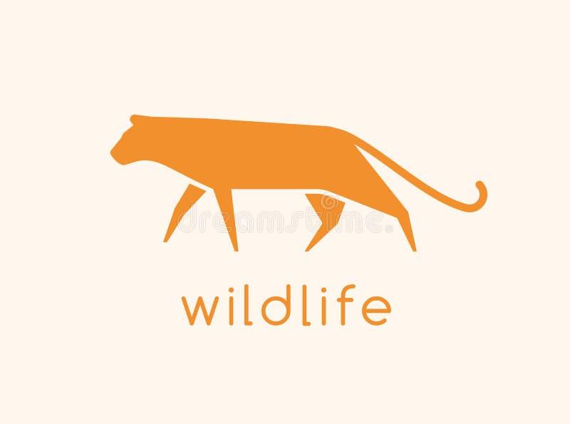 Logotype moderno con la siluetta del gatto selvaggio Logo con l'animale carnivoro, felid predatore Sottragga il disegno decorativ royalty illustrazione gratis