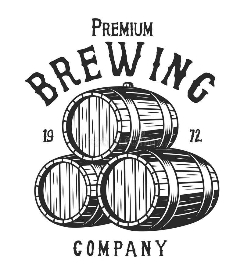 Logotype monochrome de société de brassage de vintage illustration stock