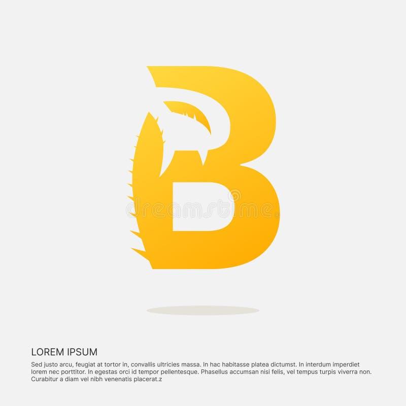Logotype négatif de l'espace de conception de lettre de B illustration stock