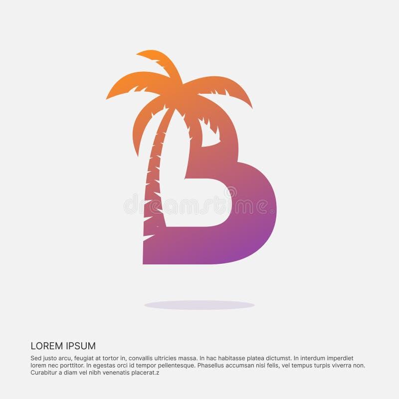 Logotype négatif de l'espace de conception de lettre de B illustration de vecteur